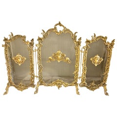 French Louis XV Style 3-Panel Bronze Fire Screen