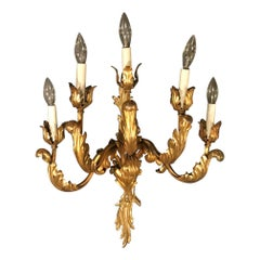 French Louis XV Style 5-Arm Gilt Bronze Sconce, Early 20th Century
