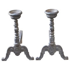 French Louis XV Style Andirons or Firedogs