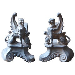 French Louis XV Style Andirons or Firedogs, Late 19th or Early 20th Century