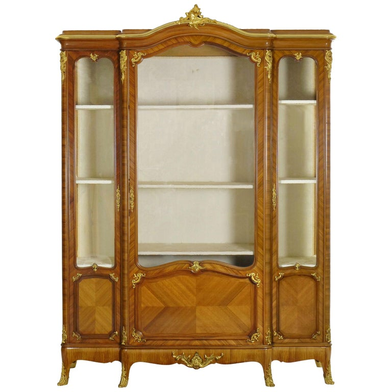 French Louis Xv Style Antique Bookcase Cabinet Bookshelf By Schmit Cie