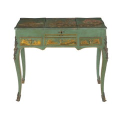French Louis XV Style Antique Green Chinoiserie Dressing Table Desk, circa 1900