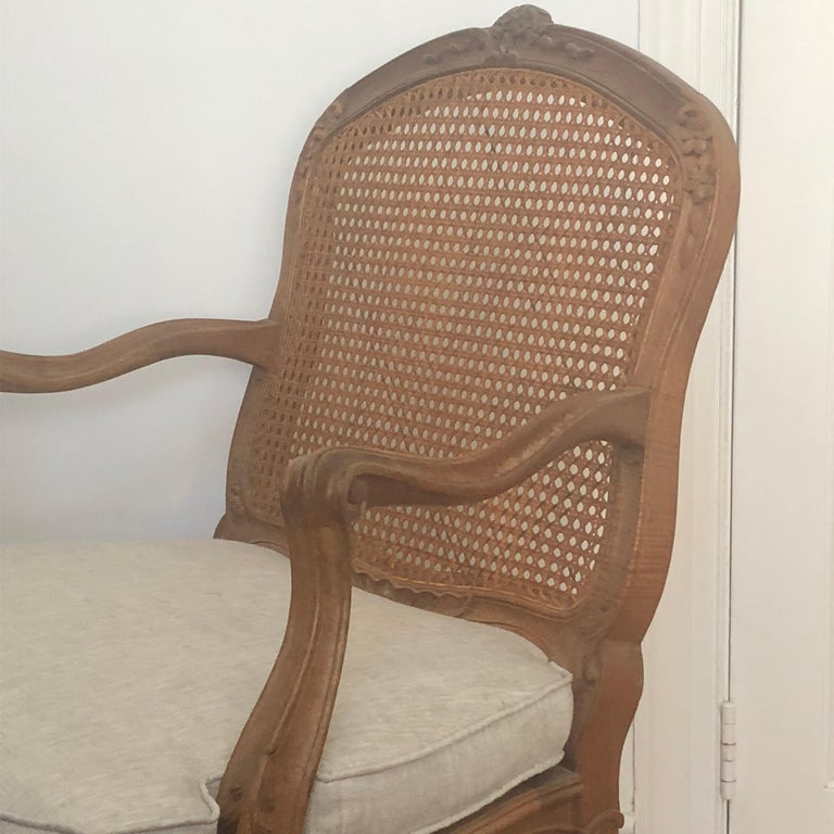 Bleached French Louis XV Style Armchair For Sale