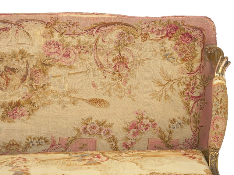 French Louis XV Style Aubusson Upholstered Antique Sofa, Paris, circa 1890 9