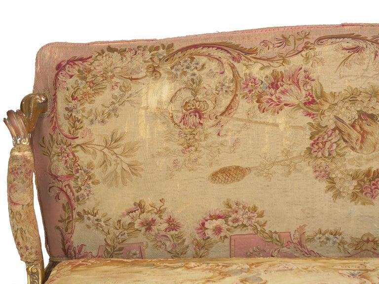 French Louis XV Style Aubusson Upholstered Antique Sofa, Paris, circa 1890 10