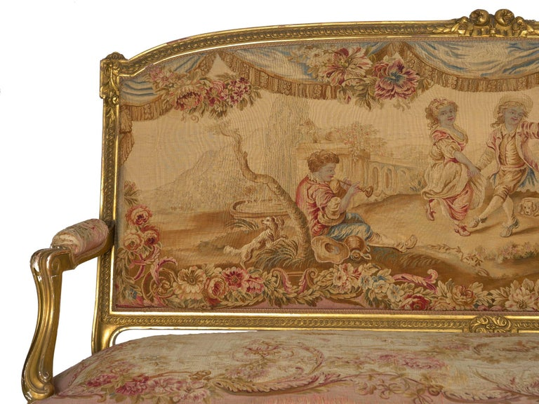 Giltwood French Louis XV Style Aubusson Upholstered Antique Sofa, Paris, circa 1890