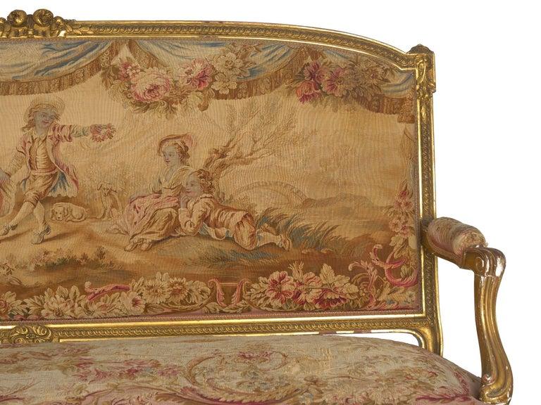 French Louis XV Style Aubusson Upholstered Antique Sofa, Paris, circa 1890 1