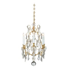 French Louis XV Style Baccarat Crystal and Ormolu Six-Light Chandelier