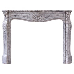 French Louis XV Style Bardiglio Fireplace