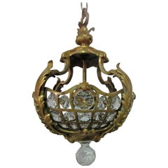 French Louis XV Style Belle Époque Gilt Bronze Chandelier with Crystal Prisms