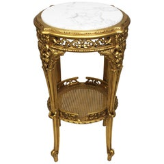 French Louis XV Style 'Belle Époque' Giltwood Carved Guéridon Table Marble Top