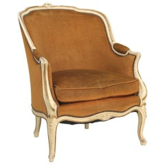 French Louis XV Style Bergère Chair in Original Paint