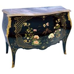 French Louis XV Style Black Lacquer & Pink Marble Commode / Chest Bird Motif