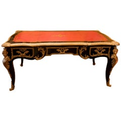 French Louis XV Style Black-Lacquered and Gilt Bronze-Mounted Bureau Plat