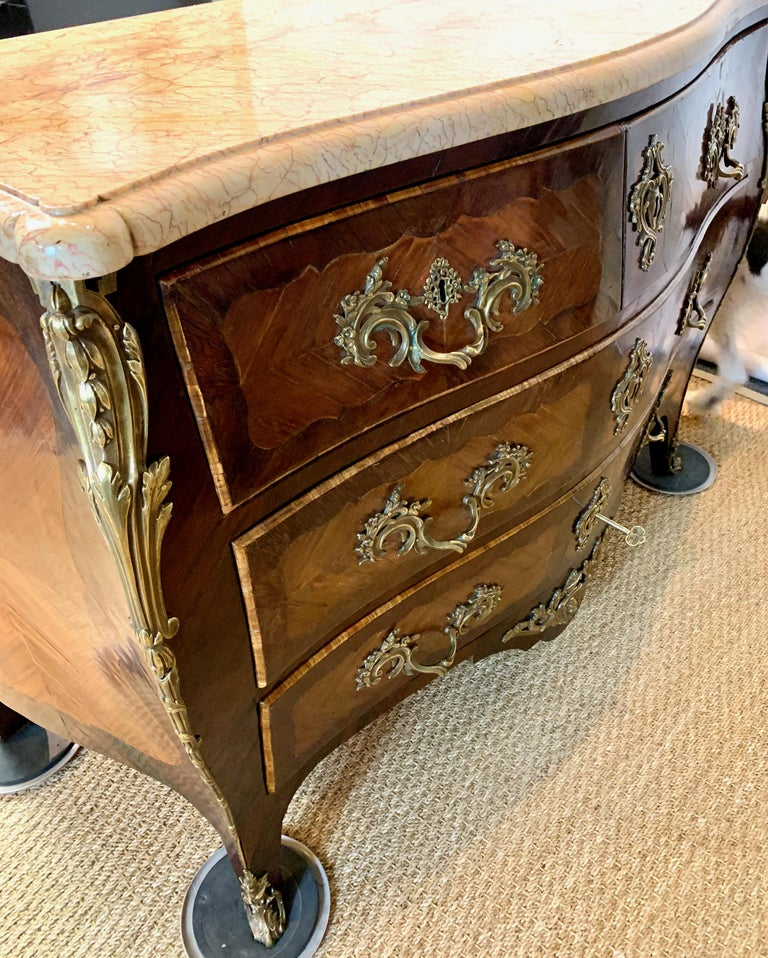French Louis XV Style Bombé Commode For Sale 14