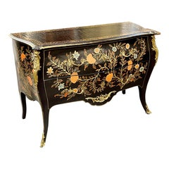 French Louis XV Style Bombe Painted Commode