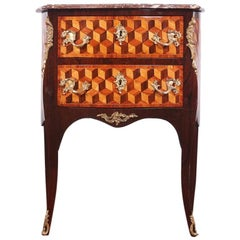 French Louis XV Style 'Bombe' Parquetry Commode