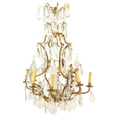 French Louis XV Style Bronze Doré and Crystal Chandelier