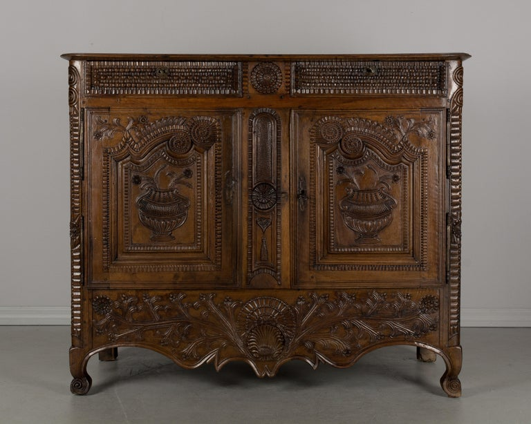 Hand-Carved French Louis XV Style Buffet from Brittany For Sale