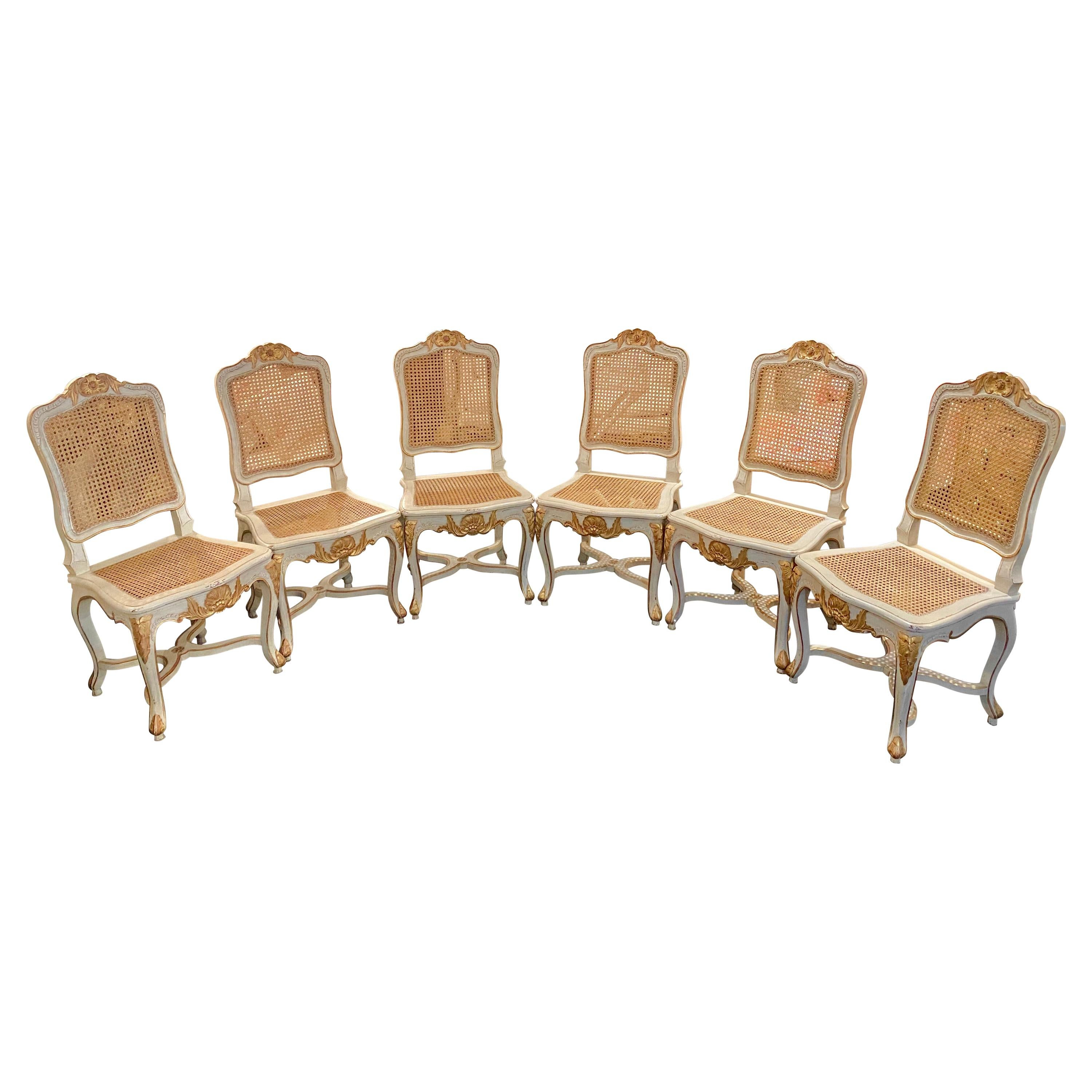 French, Louis XV Style caned Chairs, Set of Six