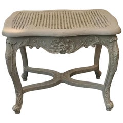 French Louis XV Style Caned Grey Patinated Bench with Entretoise