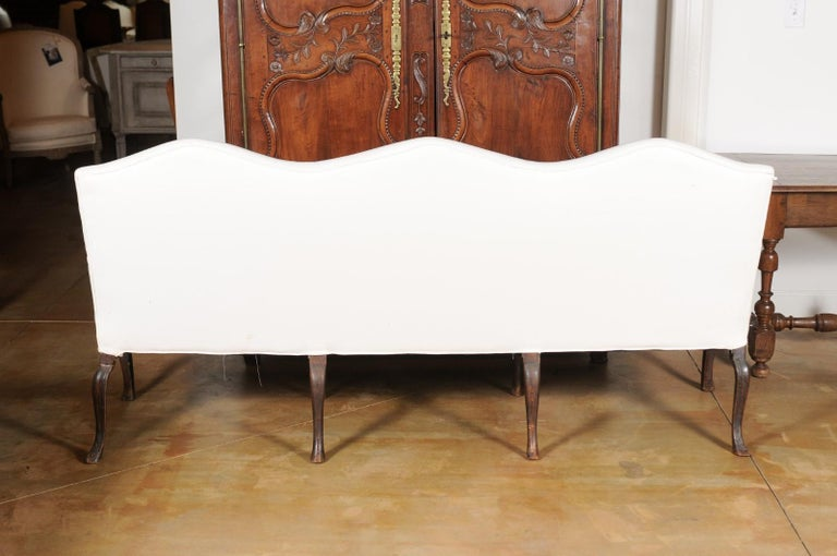 French Louis XV Style Carved 19th Century Upholstered Canapé with Cabriole Legs For Sale 6