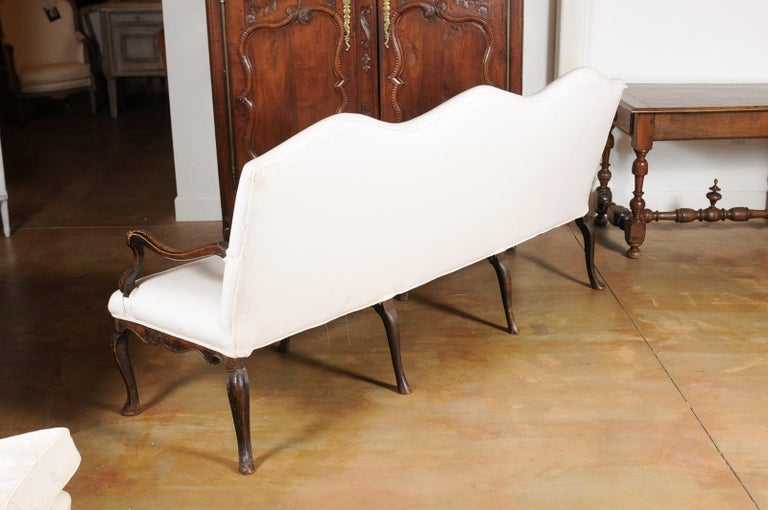 French Louis XV Style Carved 19th Century Upholstered Canapé with Cabriole Legs For Sale 7