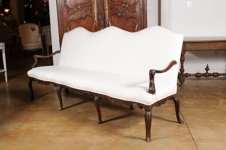 French Louis XV Style Carved 19th Century Upholstered Canapé with Cabriole Legs For Sale 9
