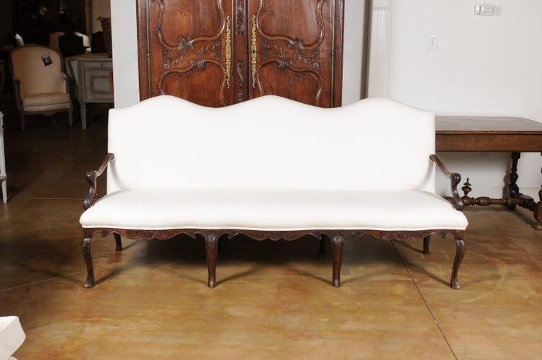Swedish French Louis XV Style Carved 19th Century Upholstered Canapé with Cabriole Legs For Sale