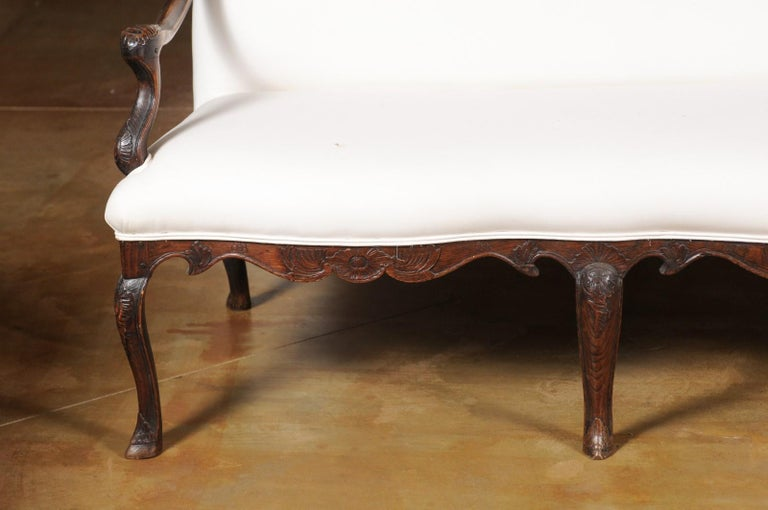French Louis XV Style Carved 19th Century Upholstered Canapé with Cabriole Legs In Good Condition For Sale In Atlanta, GA
