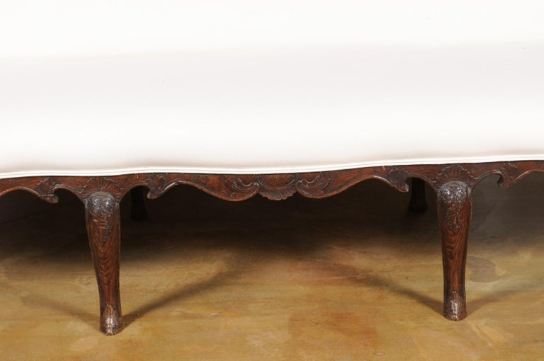 Upholstery French Louis XV Style Carved 19th Century Upholstered Canapé with Cabriole Legs For Sale
