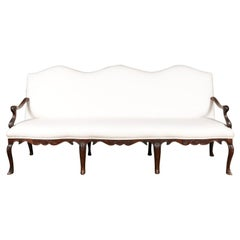French Louis XV Style Carved 19th Century Upholstered Canapé with Cabriole Legs