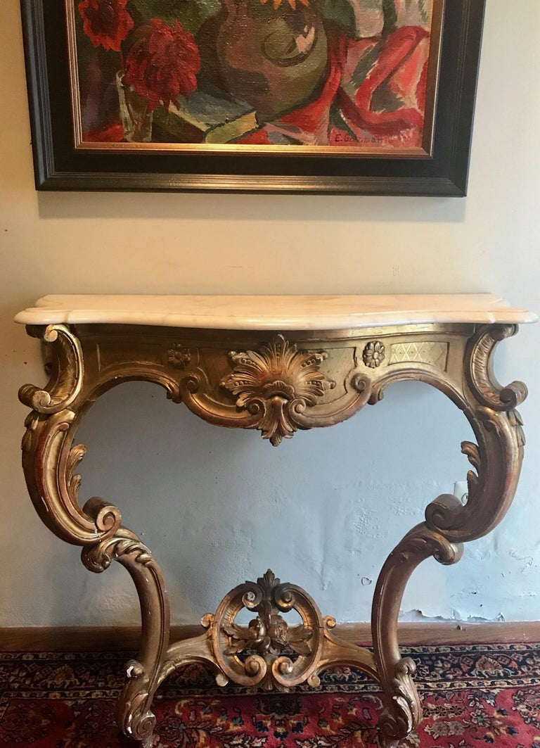 Hand-Carved French Louis XV Style Carved and Gilded Marble-Top Console For Sale
