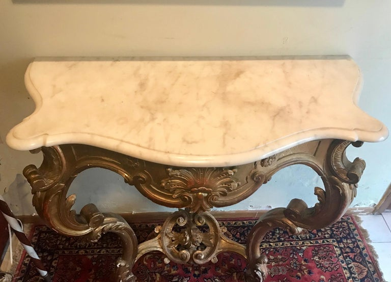 French Louis XV Style Carved and Gilded Marble-Top Console In Good Condition For Sale In Poughkeepsie, NY