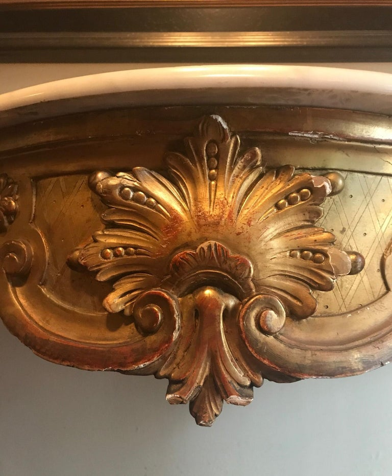 19th Century French Louis XV Style Carved and Gilded Marble-Top Console For Sale