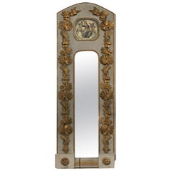 French Louis XV Style Carved and Parcel Gilt Narrow Trumeau Mirror