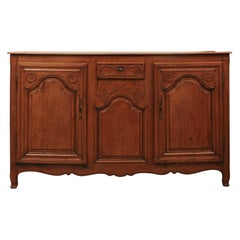 French Louis XV Style Carved Cherry Enfilade from Picardie from the 1790s
