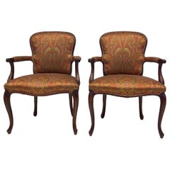 French Louis XV Style Carved Mahogany Bergere Chairs in Paisley Silk -Pair