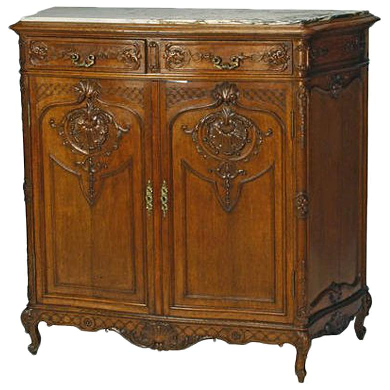 French Louis XV Style Carved Oak Cabinet, 19th Century