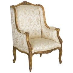 French Louis XV Style Carved Painted Antique Armchair, 19th Century