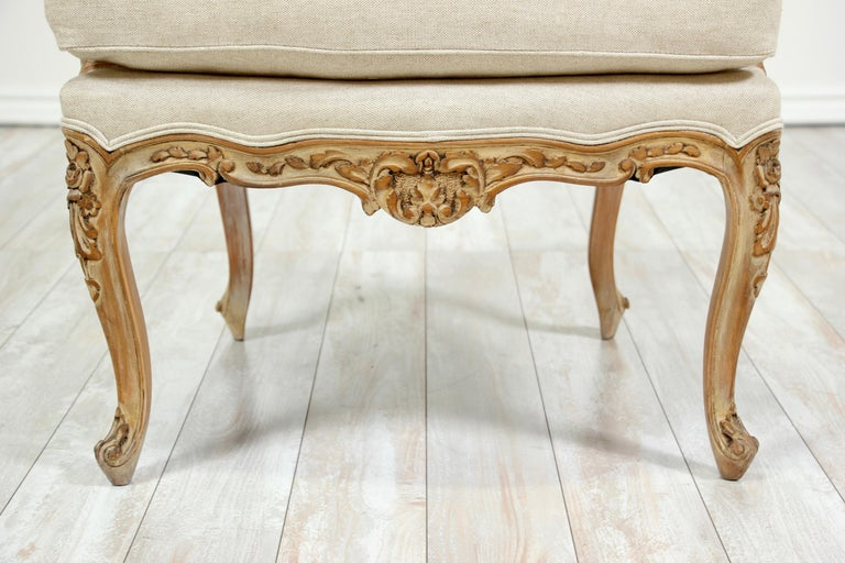 French Louis XV Style Carved Painted Armchairs, a Pair For Sale 6