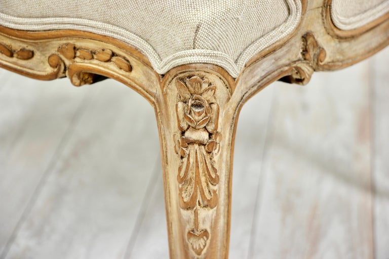 French Louis XV Style Carved Painted Armchairs, a Pair For Sale 8