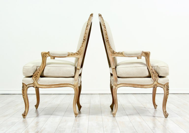 Hand-Carved French Louis XV Style Carved Painted Armchairs, a Pair For Sale