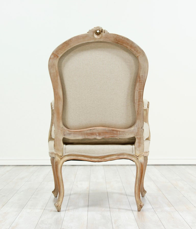 Wood French Louis XV Style Carved Painted Armchairs, a Pair For Sale