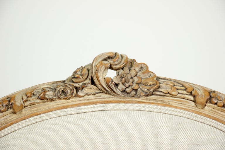 French Louis XV Style Carved Painted Armchairs, a Pair For Sale 2