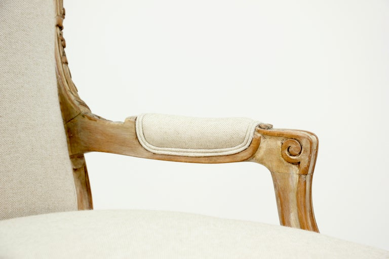 French Louis XV Style Carved Painted Armchairs, a Pair For Sale 3