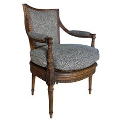 French Louis XV Style Carved Wood Cane Fauteuil Accent Armchair, France