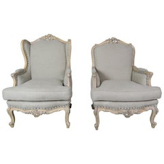French Louis XV Style Carved Wood Armchairs, His & Her