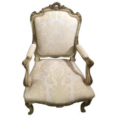 French Louis XV-Style Chair, Parcel Gilt and Cream Paint, Fortuny Fabric
