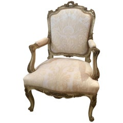 French Louis XV-Style Chair, Parcel-Gilt and Cream Paint, Fortuny Fabric